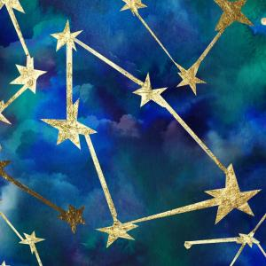 An abstract illustration of a blue and green sky filled with golden starry constellations.