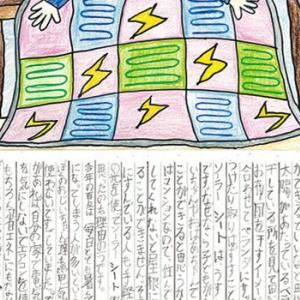An illustration of a colorful quilt with lightning bolts and at the bottom columns of Japanese script.