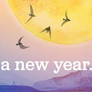 "watercolor of birds flying by sun, ""Welcoming a new year"" text"