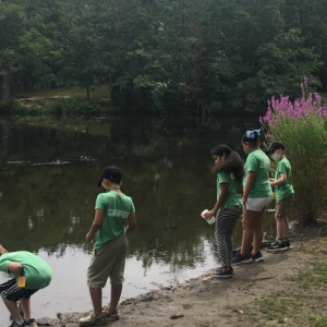 Gladstone Elementary School 21st CCLC and NOAA/NAAEE participants in the Mystic Aquarium program adopting their local watershed and doing a marine debris clean up.