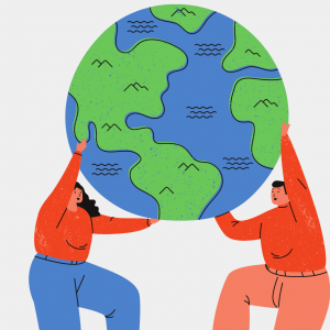 illustration fo two people holding up the world
