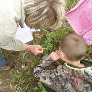 A teacher and two young children examine a plant outside.