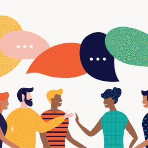 Colorful illustration of five people conversing with speech bubbles