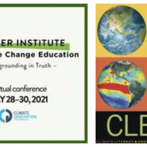 Promotional graphic reading: Summer Institute for Climate Change Education. Accompanied by a color graphic of four globes under heat maps, with the word Clean.