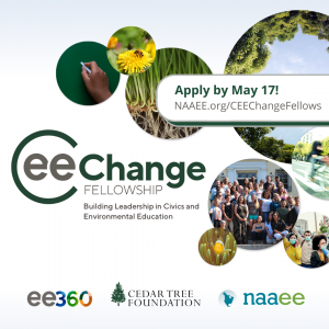 CEE-Change Promotional Graphic. Images of trees and bees and plants. Text reads: CEE-Change. Apply by May 17!
