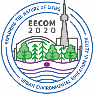 "The logo for the EECOM 2020 conference taking place in Toronto on the territories of the Mississaugas of the Credit First Nation. The logo depicts the two-row wampum belt symbolizing the Dish with One Spoon treaty, and aspects of the city, including the CN Tower, the Rogers Centre, Lake Ontario and various tree species. The conference title, ""Exploring the Nature of Cities"" and tagline, ""Urban Environmental Education in Action"" encircle the logo."