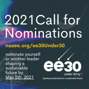 2021 call for nominations ee30 under 30 logo on dark background with bright digital swirls