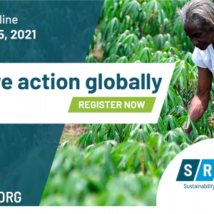 Inspire action globally. Register now. Person looking at plants.