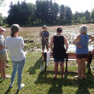 A group of adults stands in a half-circle in front of a wetland listening to an environmental educator