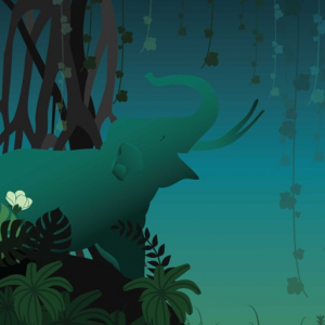 Model Conference of Parties poster with logos, info,  and illustration of animals on blue green background