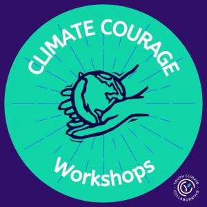 Purple and Green logo with the text: Climate Courage Workshops