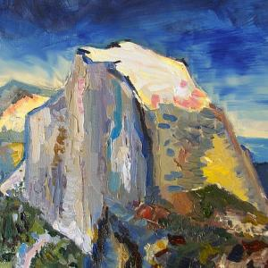 An oil painting of a large granite mountain peak