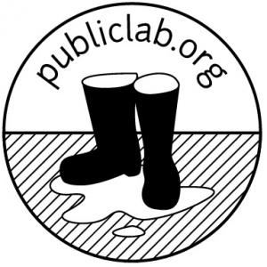 The Public Lab Logo shows a pair of black rubber boots in a puddle of water.