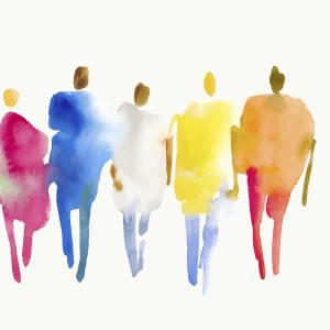 watercolor of diverse line of people wearing bright colors