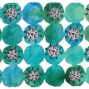 blue and green watercolor circles with black and white disease illustrations inside every other one