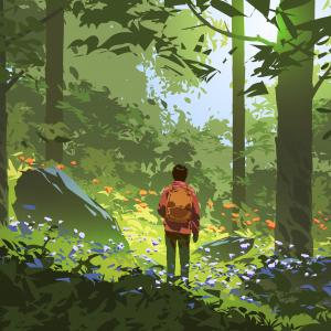 Illustration of person with backpack standing in middle of forest. Light shining through.