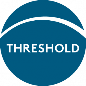 "Threshold Logo - Blue circle with white arc across the top and the word ""Threshold"""