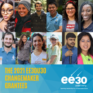 Faces of young EE 2021 Changemakers and ee 30 Under 30 logo