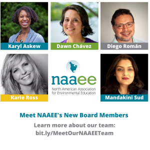 """Faces of Karyl Askew, Dawn Chavez, Diego Roman, Karie Ross, and Mandarin Sud with copy """"Meet NAAEE's new board members"""""""