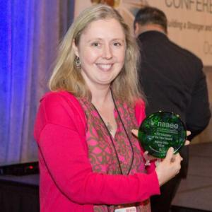 Toronto Teacher Nancy Gillis Receives NAAEE's K-12 Educator of the Year Award at the 2015 NAAEE Annual Conference in San Diego, CA.