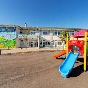 playground in front of school building